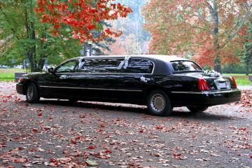 Black Stretch Limo Country Road